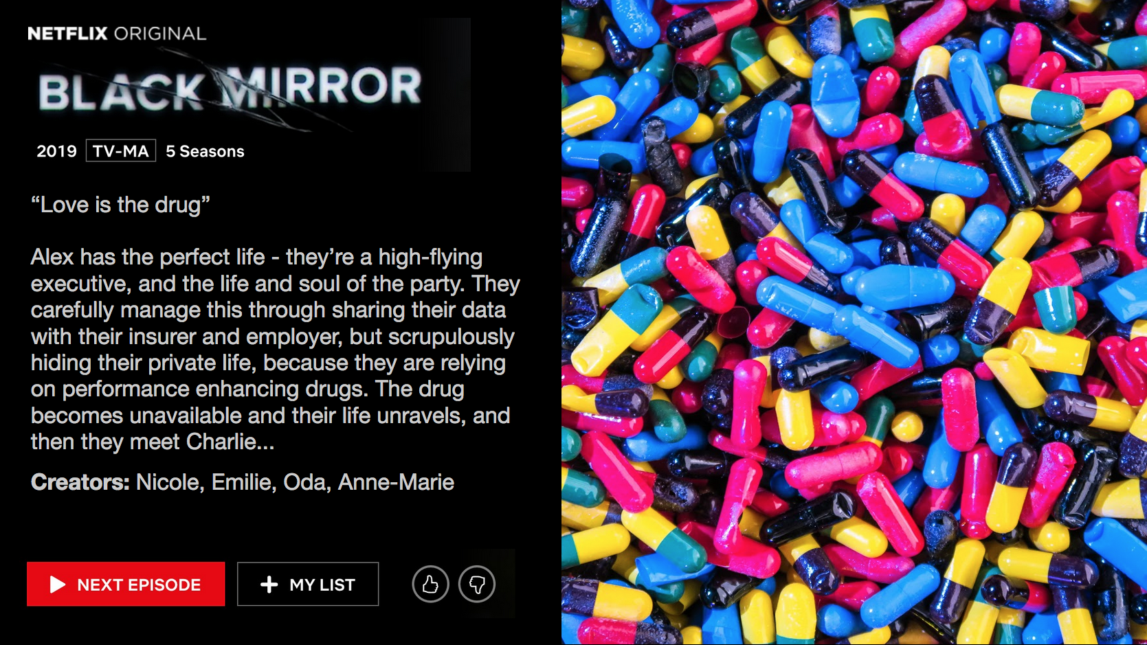 Mockup of Netflix Black Mirror Episode - description of episode plus image
