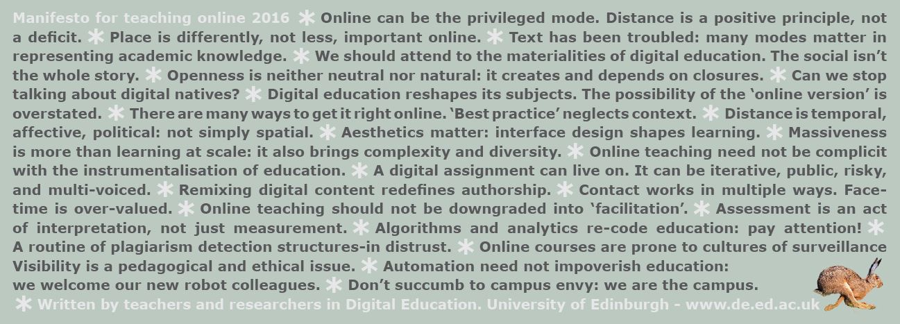 Picture of the print copy of the 2016 Manifesto for Teaching Online